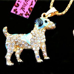 Necklace- NEW- Betsey Johnson - Cute Terrier Dog